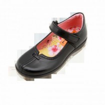 Girls School Shoes-Petasil-Babs (Black Leather)