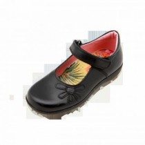 Girls School Shoes-Petasil-Bonnie (Black Leather)