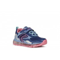 Geox Girls Light-Up Trainer | J ANDROID | Navy Fuchsia