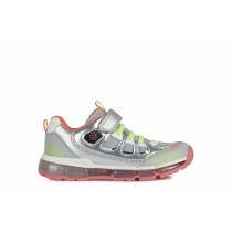 Geox Girls Trainer | ANDROID lights | Silver/Coral